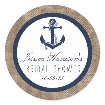 Invitation_Republic Navy Blue Nautical Anchor Bridal Shower Stickers