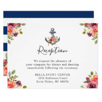 Navy Blue Nautical Anchor Floral Wedding Reception Invitation