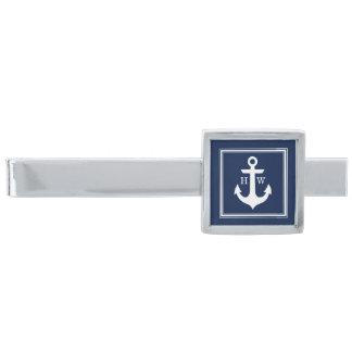 Navy Blue Nautical Anchor Framed Monogram Silver Finish Tie Clip
