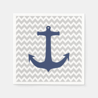 Navy Blue Nautical Anchor Grey White Chevron Napkin