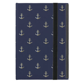Navy blue nautical anchor iPad mini case