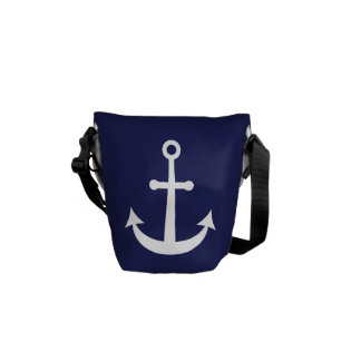 Navy Blue Nautical Anchor Courier Bags