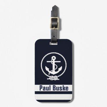 Navy Blue Nautical Anchor Monogram Bag Tag
