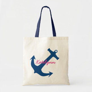 Navy Blue Nautical Anchor Monogram Canvas Tote