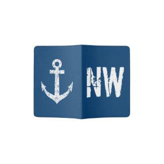 Navy blue nautical anchor monogram passport holder