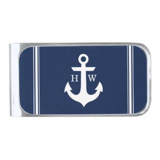 Navy Blue Nautical Anchor Monogram Money Clip