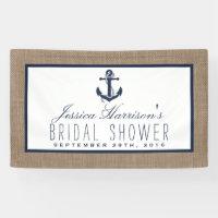 Navy Blue Nautical Anchor On Burlap Bridal Shower Banner