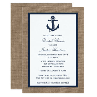 Navy Blue Nautical Anchor On Burlap Bridal Shower Card