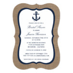 Navy Blue Nautical Anchor On Burlap Bridal Shower 5x7 Paper Invitation Card