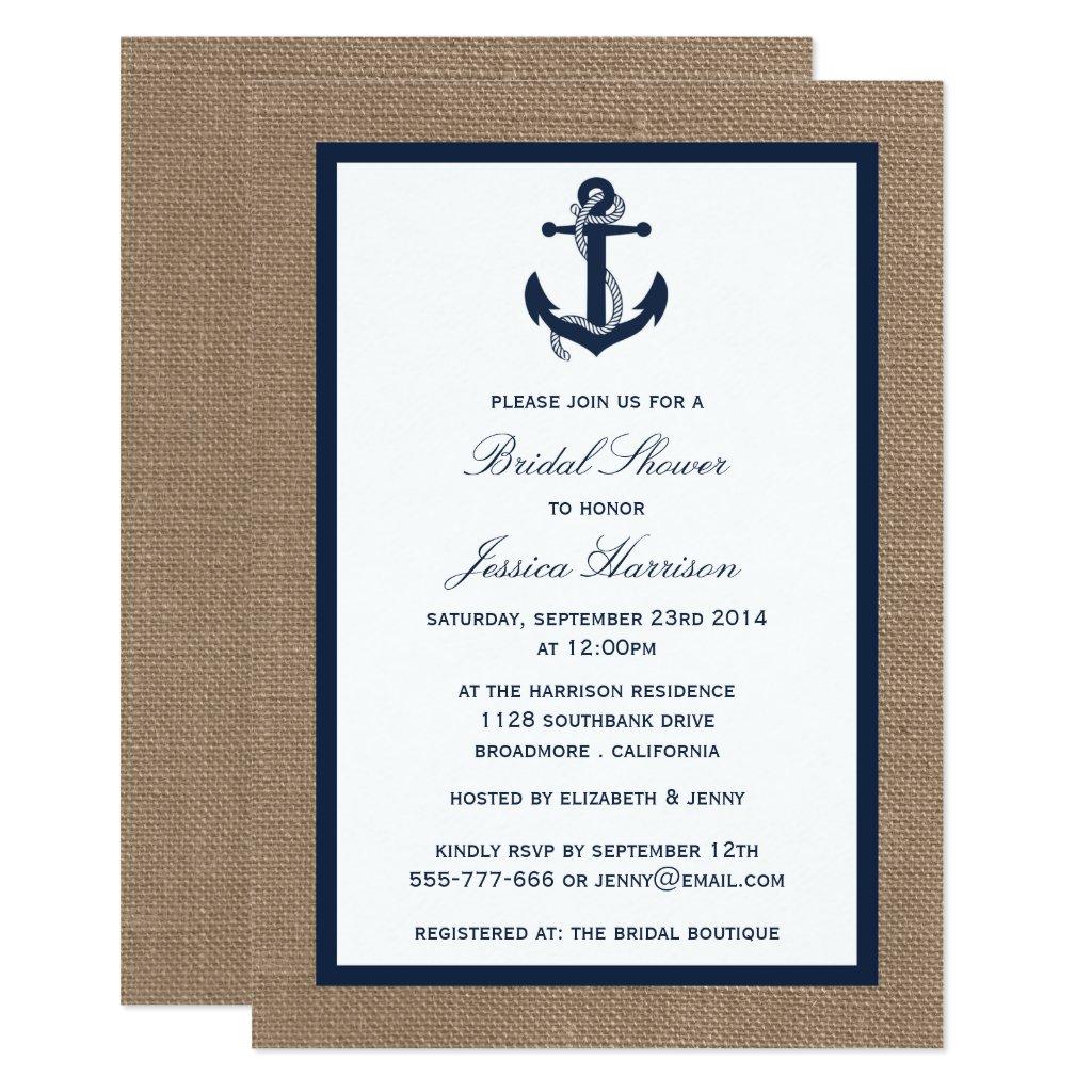 Navy Blue Nautical Anchor On Burlap Bridal Shower Invitation