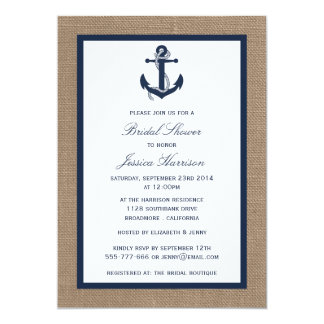 Navy Blue Nautical Anchor On Burlap Bridal Shower 5x7 Paper Invitation Card