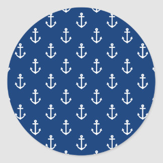 Navy Blue Nautical Anchor Pattern Classic Round Sticker