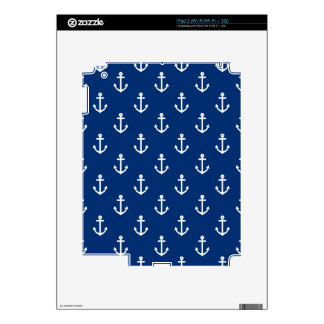Navy Blue Nautical Anchor Pattern Decal For iPad 2