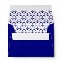 Navy Blue Nautical Anchor Pattern Envelope