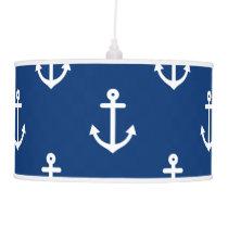 Navy Blue Nautical Anchor Pattern Hanging Lamp