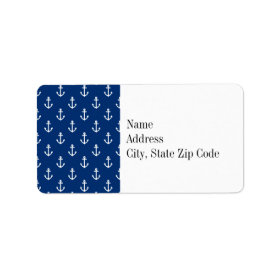 Navy Blue Nautical Anchor Pattern Personalized Address Labels