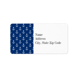 Navy Blue Nautical Anchor Pattern Label
