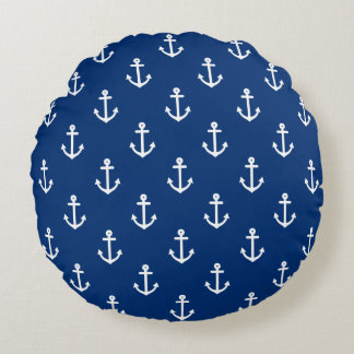 Navy Blue Nautical Anchor Pattern Round Pillow