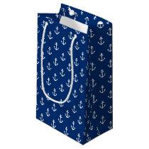Navy Blue Nautical Anchor Pattern Small Gift Bag