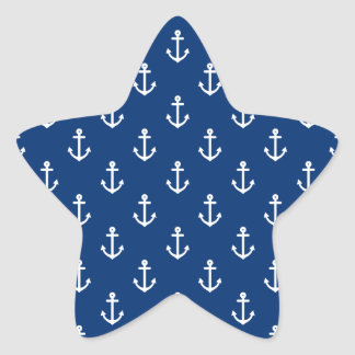 Navy Blue Nautical Anchor Pattern Star Sticker