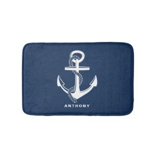 Navy Blue Nautical Anchor Personalized Bath Mat