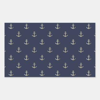 Navy blue nautical anchor rectangular sticker