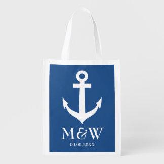 Navy blue nautical anchor reusable wedding bag reusable grocery bags