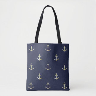 Navy blue nautical anchor tote bag