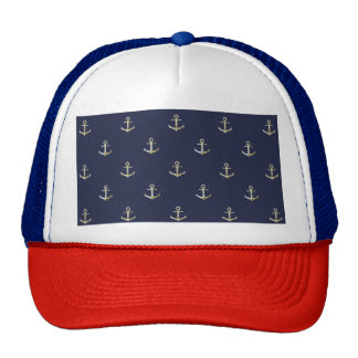 Navy blue nautical anchor trucker hat