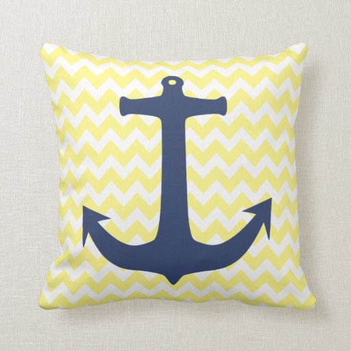 Yellow And Navy Blue Throw Pillows : Navy Blue Nautical Anchor Yellow White Chevron Throw Pillow Zazzle