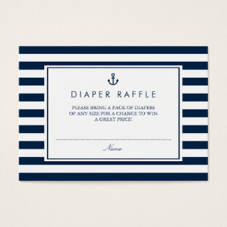 Navy Blue Nautical Baby Shower Diaper Raffle Business Card