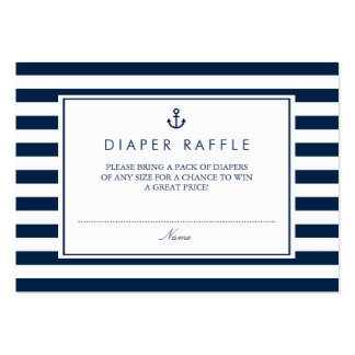Navy Blue Nautical Baby Shower Diaper Raffle Large Business Card