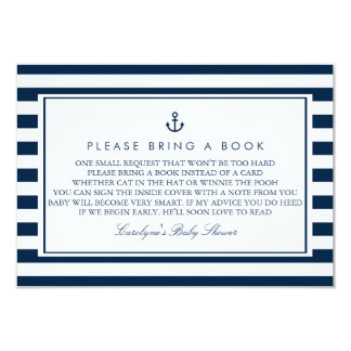 Navy Blue Nautical Baby Shower Please Bring a Book Card