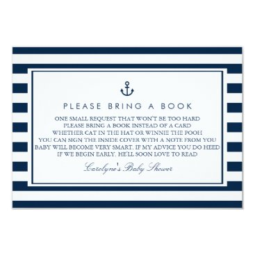 Toddler & Baby themed Navy Blue Nautical Baby Shower Please Bring a Book Card