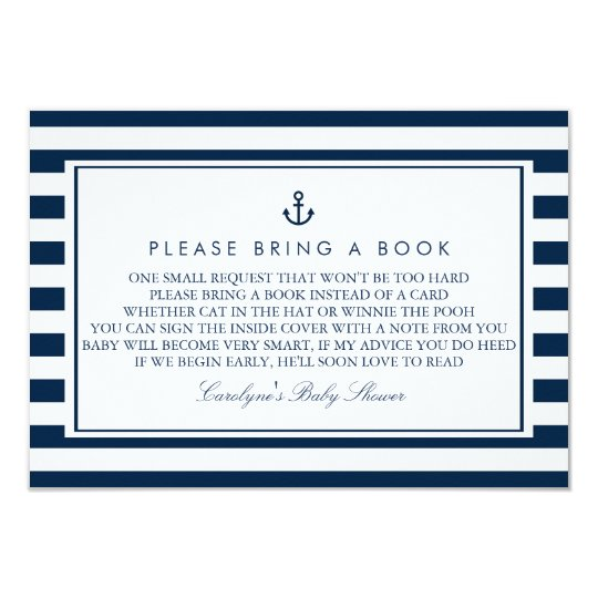 navy blue nautical baby shower please bring a book card   zazzle, Baby shower invitations