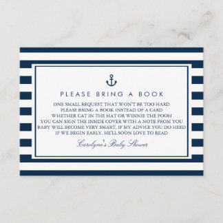 Navy Blue Nautical Baby Shower Please Bring a Book Enclosure Card