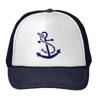 Navy Blue Nautical Boat Anchor 3 Trucker Hat