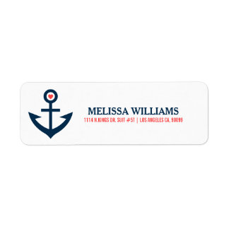 Navy Blue Nautical Boat Anchor Illustration Label