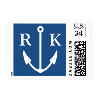 Navy blue nautical boat anchor monogram stamps