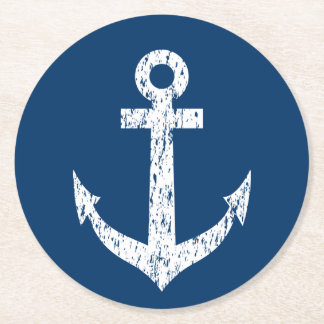 Navy blue nautical boat anchor paper coasters