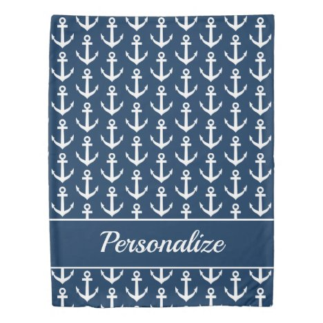 Navy blue nautical boat anchor print personalized duvet cover