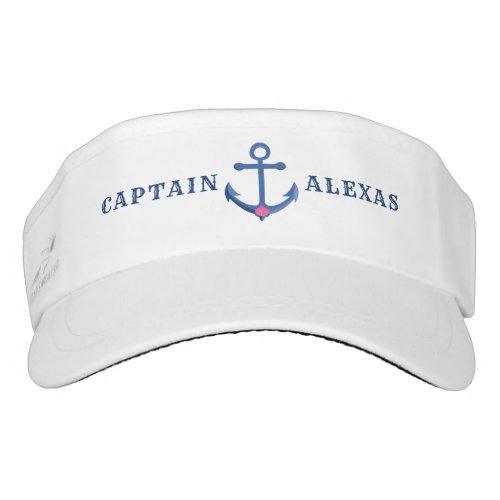 Navy_Blue Nautical Boat Anchor  Seashell Accent Visor