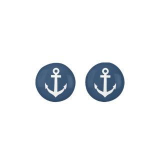 Navy blue nautical boat anchor stud earrings
