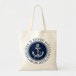 Navy Blue Nautical Boat Anchor Wedding Template Tote Bag