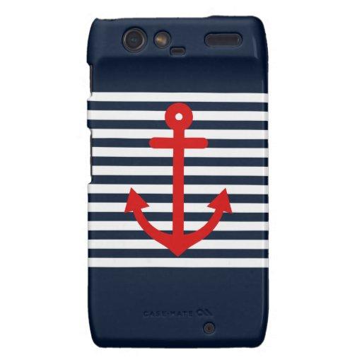 Navy Blue Nautical Motorola Droid RAZR Cases