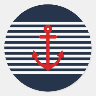 Navy Blue Nautical Classic Round Sticker