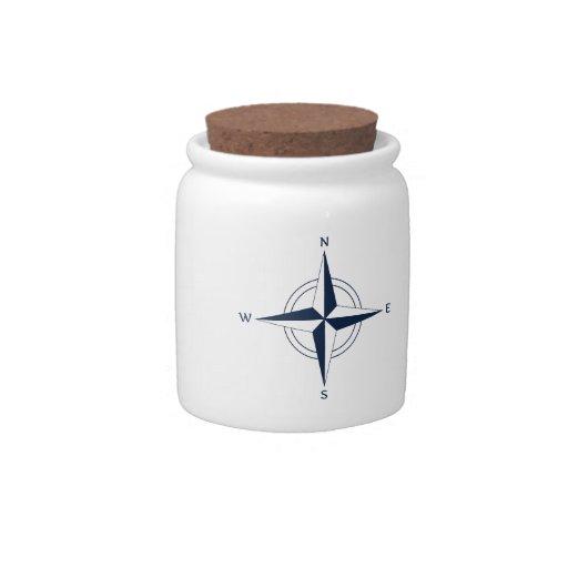 Navy Blue Nautical Compass Candy Jars