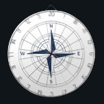 "Navy Blue Nautical Compass Dart Board<br><div class=""desc"">This cool navy blue nautical compass design would make a great accent in any nautical themed room.</div>"