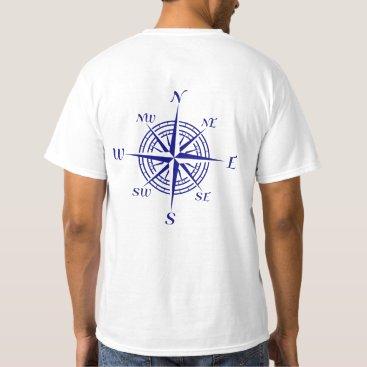 Beach Themed Navy Blue Nautical Compass Rose T-Shirt