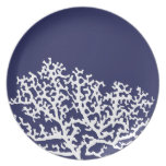 Navy Blue Nautical Coral Party Plate